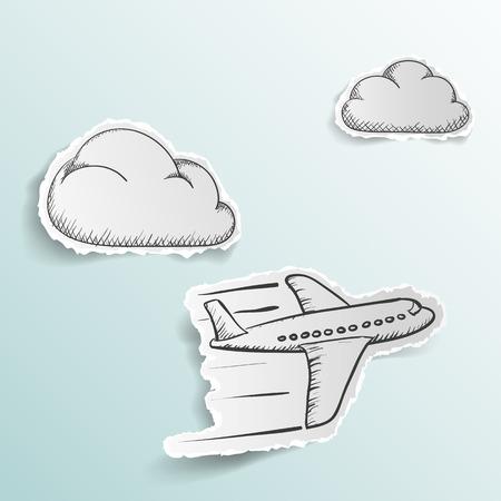 logotipo turismo: Avión está volando en las nubes. la imagen del doodle. Álbum de recortes. Vector ilustración stock.