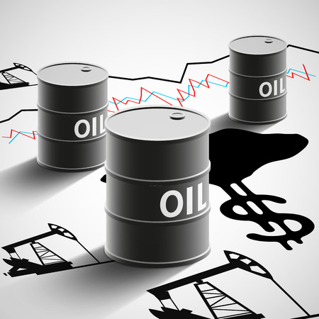 Barrels of oil, graphics, and oil pumps. Stock Vector illustration.