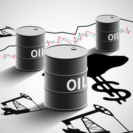 Barrels of oil, graphics, and oil pumps. Stock Vector illustration.
