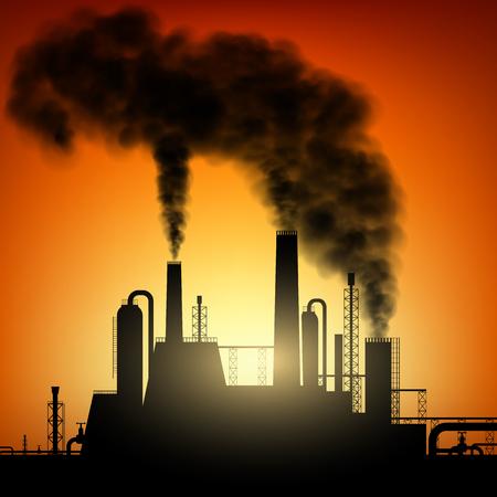 산업 공장의 실루엣입니다. 연기와 파이프. 주식 벡터 이미지.