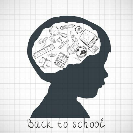 Sylwetka dziecka. Powrót do szkoły. Doodle obrazu. ilustracji wektorowych.