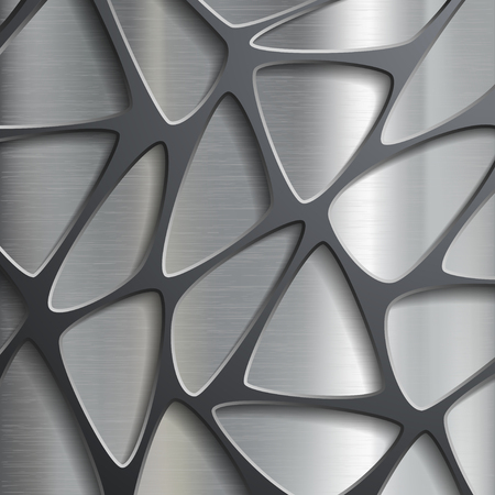Metallic geometric pattern. Texture of the steel. Stock vector image.