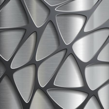 Metallic geometric pattern. Texture of the steel. Stock vector image.