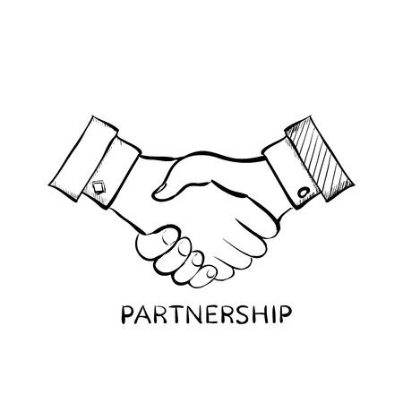 communications: Handshake of two men. Symbol of partnership. Doodle image. Stock Vector illustration.