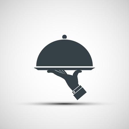 Restaurant cloche in hand the waiter.  design. Stock vector image.