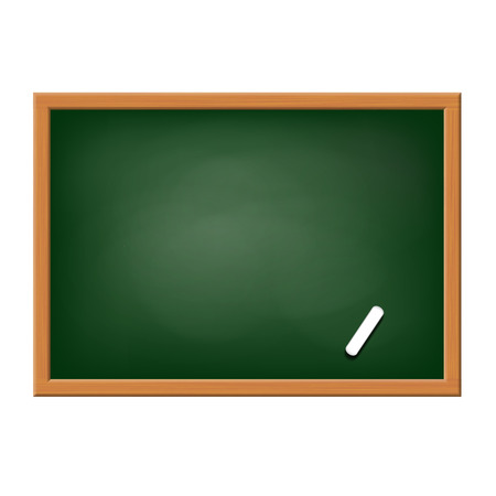 children education: Green blackboard with chalk. Isolated on white background. Stock vector image.
