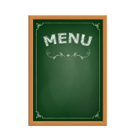 chalk board: Green chalk board menu. Isolated on white background. Stock vector image.
