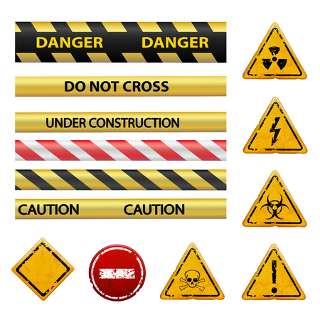 toxicity: Set of warning signs. Isolated on white background. Stock vector image.