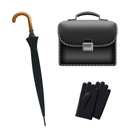 personal accessories: Set of accessories for men. Umbrella, briefcase and gloves isolated on white background. Stock vector image.