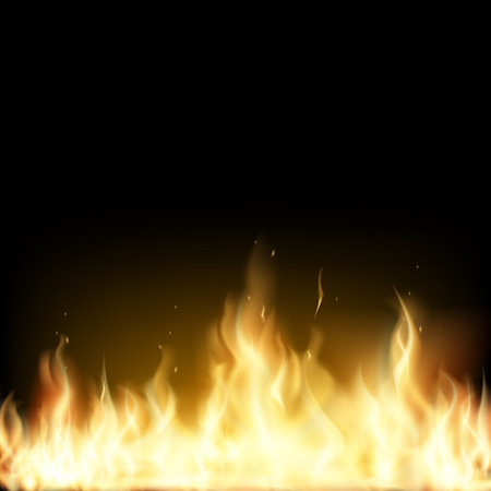 gas barbecue: Red Fire isolated on a black background. Stock vector image.