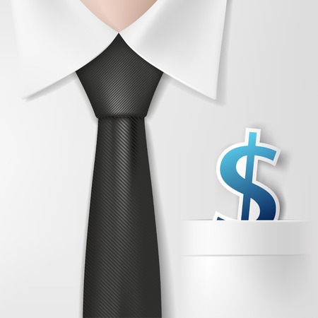 Dollar signs in a shirt pocket Illustration