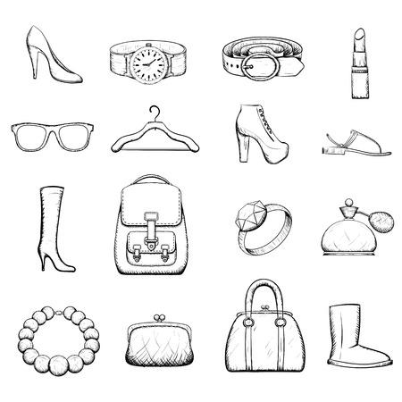 ropa interior: Conjunto de accesorios para la mujer - la imagen del Doodle Vectores