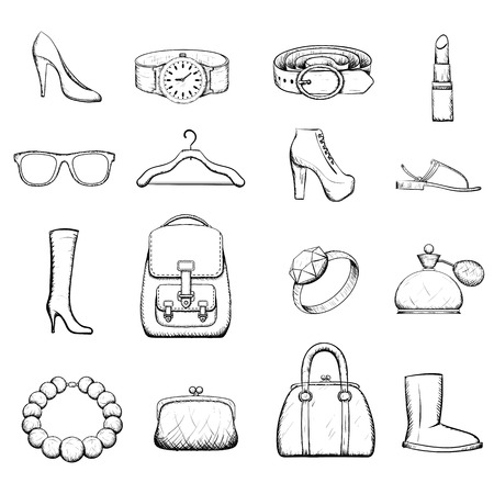 purses: Set of accessories for women - Doodle image