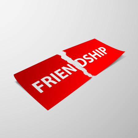 amicizia: Foglio di carta strappato con la parola amicizia. Immagine vettoriale.