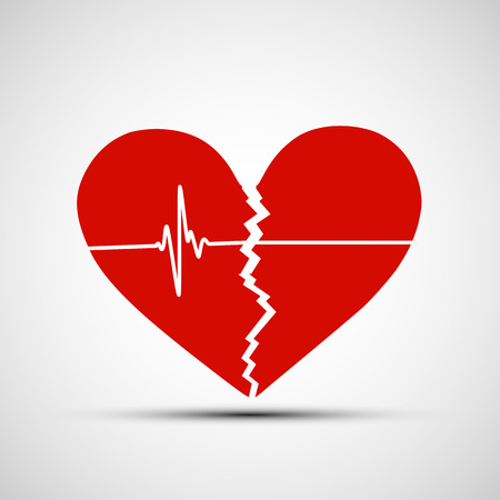 ataque al corazón: Corazón humano rojo con una grieta