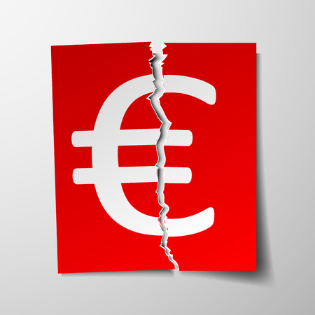 paper currency: Euro currency symbol torn sheet of paper