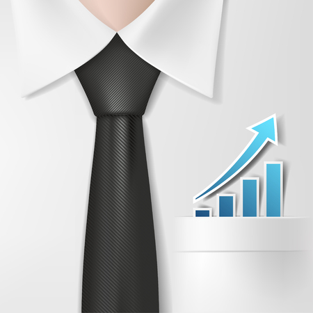 stock exchange brokers: Chart of profit growth in a shirt pocket