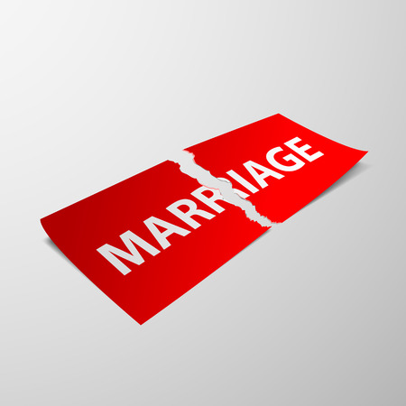 betrayal: Torn sheet of paper with the word marriage