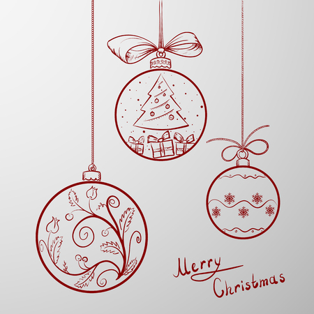 tree outline: Red Christmas balls with ornament doodle Illustration