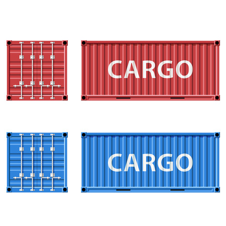 sea side: Red and blue cargo container Illustration