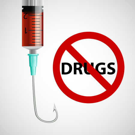 prohibiting: Sign prohibiting drugs a syringe with a needle