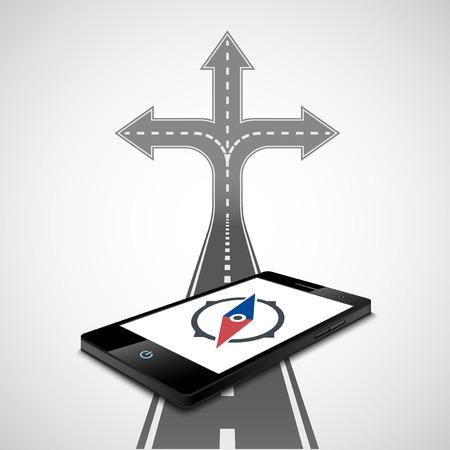bussola: Bussola sullo schermo dello smartphone Vettoriali