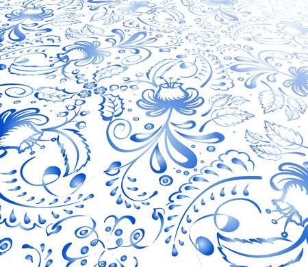 gzhel: National ornament Gzhel - Floral background Illustration