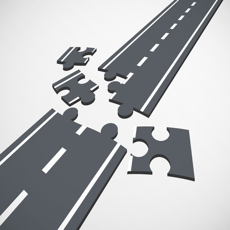 Road consists of pieces of the puzzle
