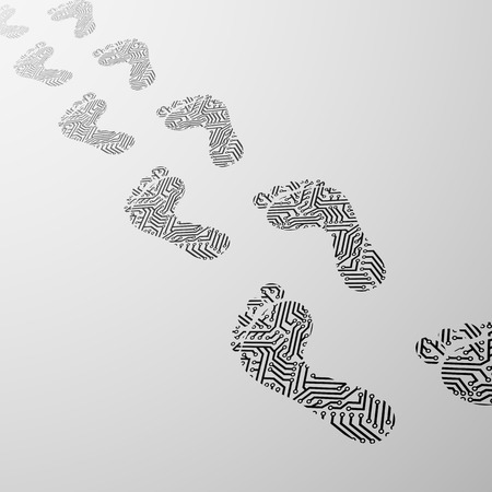 Imprint the human foot in the form of electrical circuit Illustration