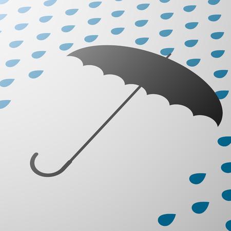 drop ceiling: Black umbrella protects against rain
