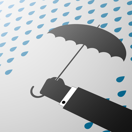 weatherproof: Man holding an umbrella in his hand Illustration