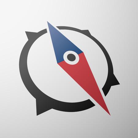 brujula: Icono del compás diseño plano
