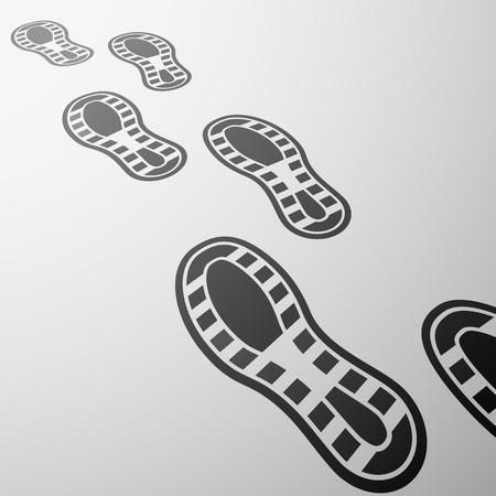 huella pie: Suelas huellas de zapatos antecedentes de viajes Vectores
