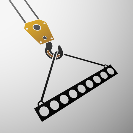 truck crane: Icon of industrial hook with reinforced concrete slab