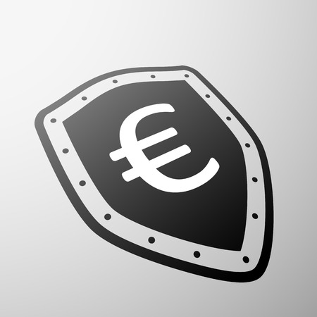global finance: Euro currency symbol on the shield