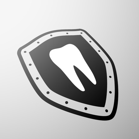 carious: Human tooth on the shield Illustration