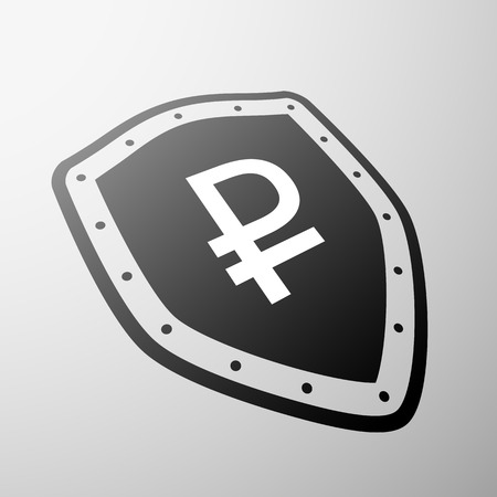 shield: Rouble currency symbol on the shield