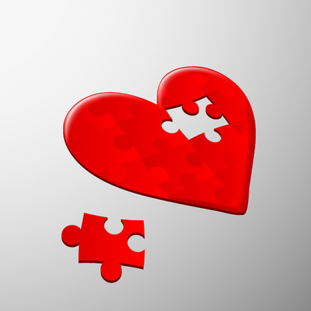 Human heart of the pieces of the puzzle Illustration
