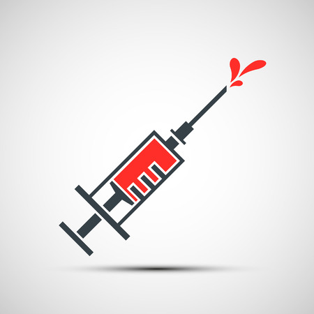 vaccine: Medical syringe with a vaccine Illustration