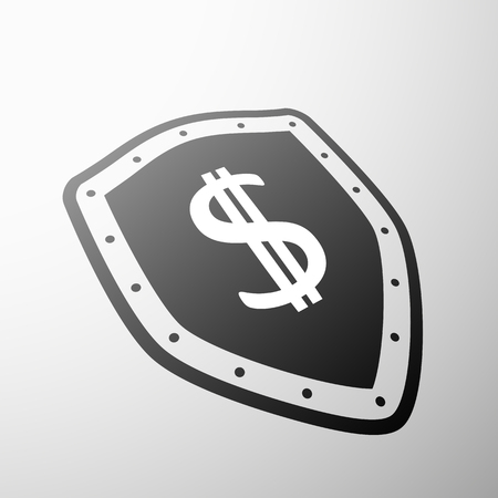 currency symbol: Dollar currency symbol on the shield