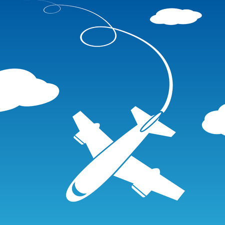 trajectory: Plane is flying among the clouds. Stock vector image.