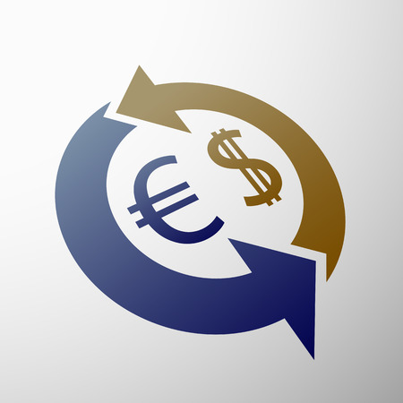 stock exchange brokers: Currency symbol dollar and euro. Stock vector image. Illustration