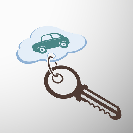 keychain: Key with keychain. The car is painted on a cloud. Stock sectorial image. Illustration