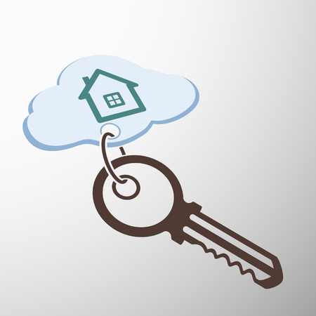 home finances: Key with keychain. The house is painted on a cloud. Stock sectorial image.