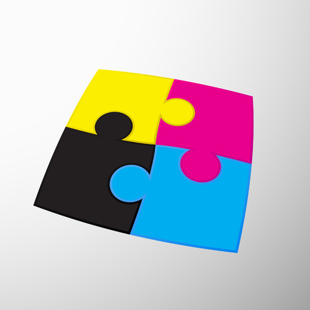 pigment: CMYK colors design. Puzzles are colored pigment.