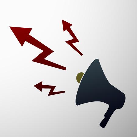 yes or no: Emblem megaphone. Flat design.  Illustration