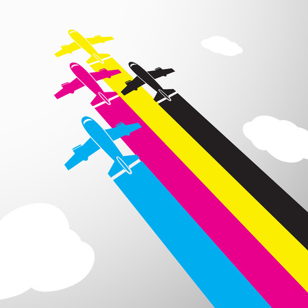 tiff: CMYK colors design. Aircraft flying in the sky.