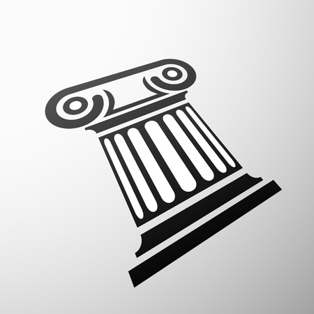 corinthian: Emblem marble columns. Flat design. Vector image.