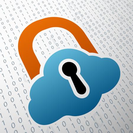 door lock: Storage of information. Door lock in the form of a cloud.  Illustration