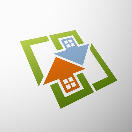 zakelijk: Logo vastgoed. Plat ontwerp.